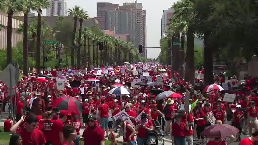 Teachers by the thousands in Arizona and Colorado converged on their state capitols Thursday seeking higher wages and more school funding. In Arizona, the unprecedented strike closed most schools statewide. (April 26)