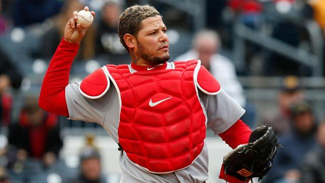St. Louis catcher Yadier Molina will miss the next month after undergoing emergency surgery after being hit in the groin by a foul ball.
