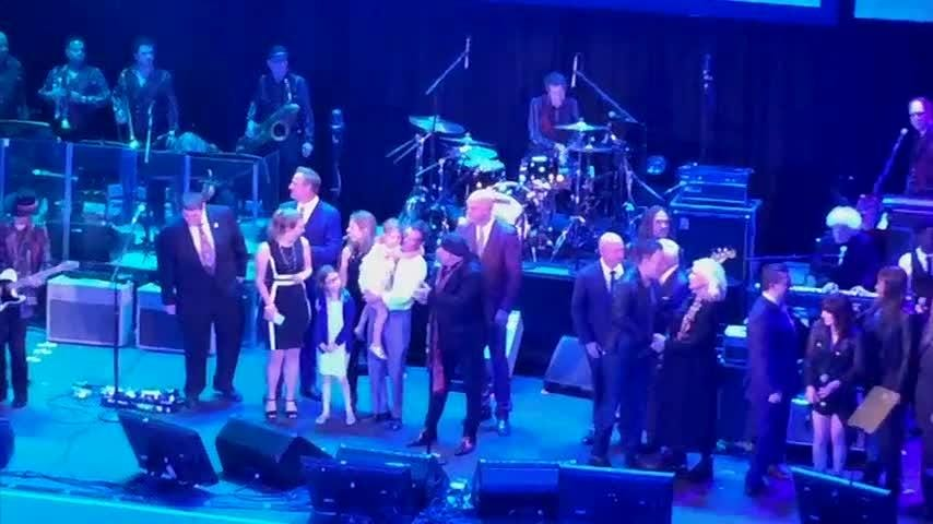 Bruce Springsteen made a surprise appearance as guitarist Steven Van Zandt was inducted into the New Jersey Hall of Fame. Other inductees joined them on stage including Astronauts Mark and Scott Kelly and women's soccer star Carli Lloyd. (May 7)