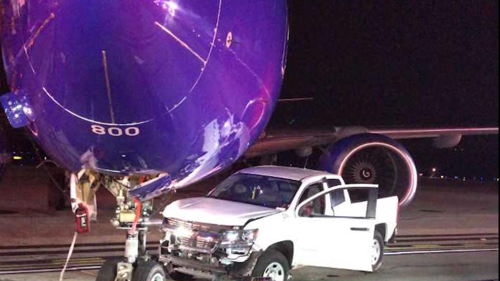 Truck crashes into Southwest Airlines plane