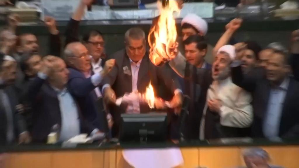 Iranian lawmakers shout 'death to America,' burn U.S. flag