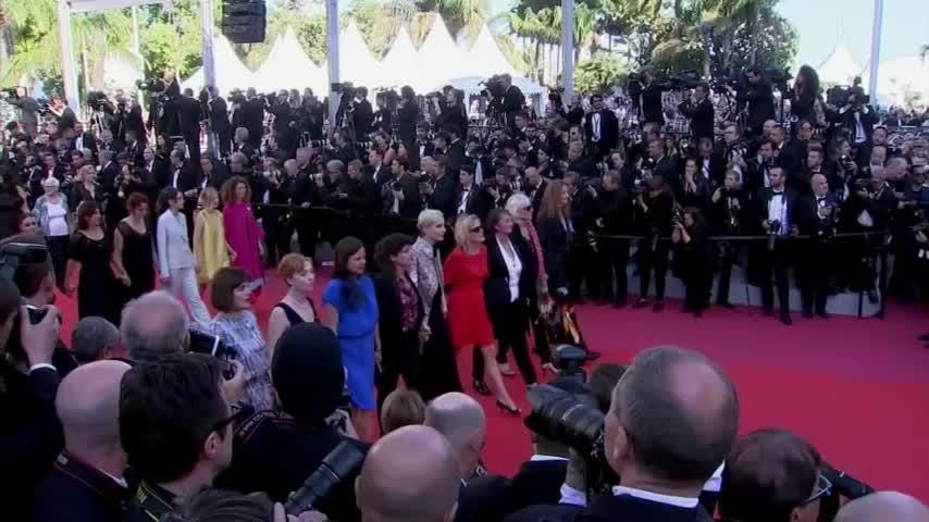 Eighty-two women have climbed the steps of the Palais des Festivals at Cannes Film Festival in an unprecedented red-carpet protest to press for improved gender equality in the film industry. (May 12)