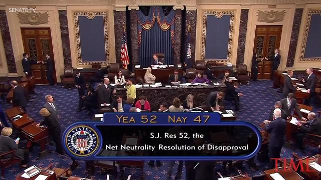 The Senate has voted to kill a Federal Communications Commission rule that repealed the Obama administration's ban on internet providers blocking or slowing down certain content.