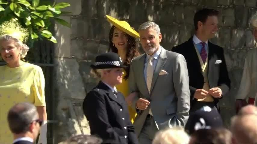 George and Amal Clooney and David and Victoria Beckham arrive for the wedding of Prince Harry and Meghan Markle (May 19)