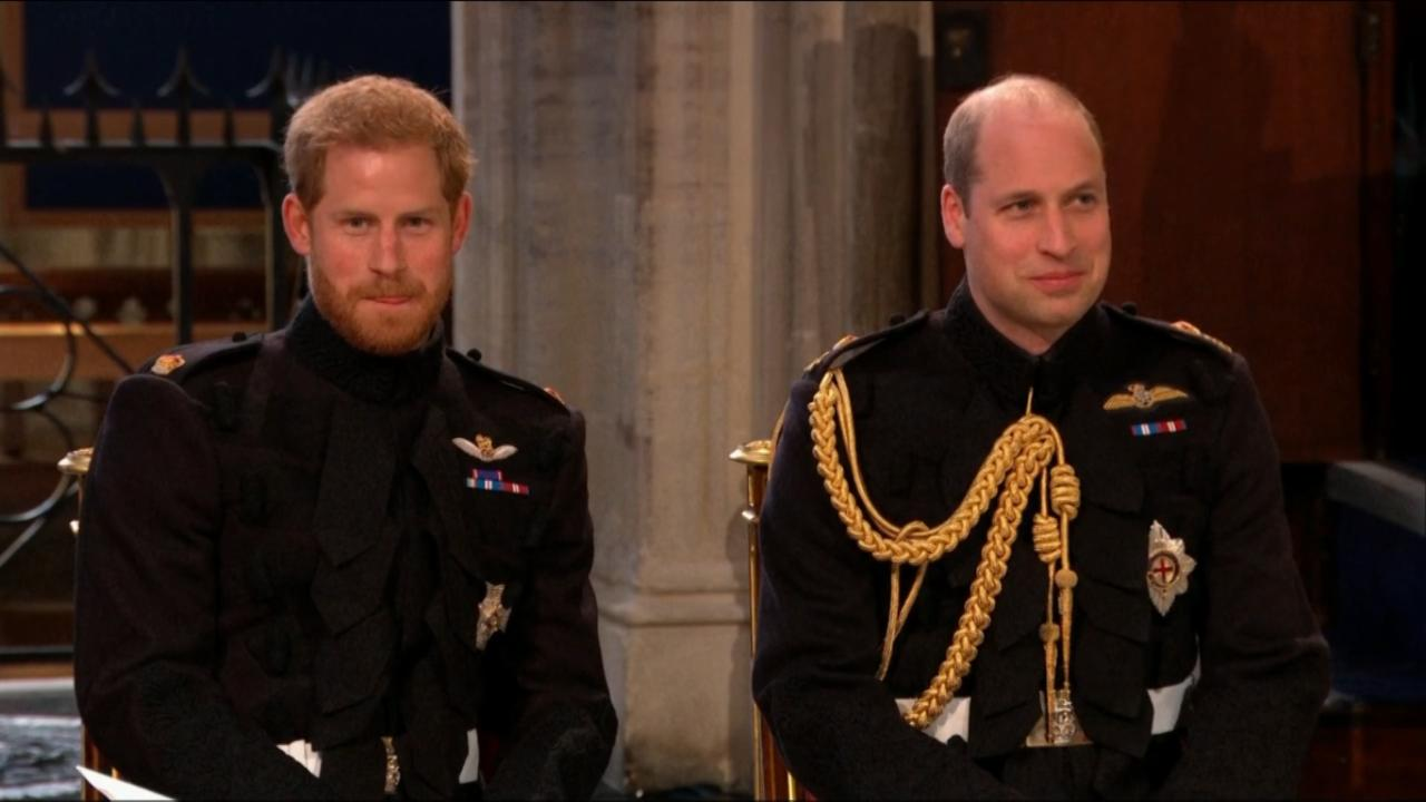 Prince Harry arrives at the royal wedding awaiting his bride.
