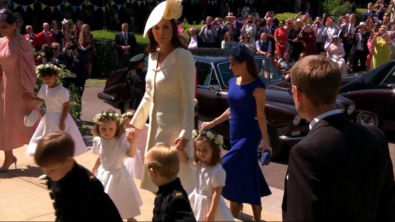 Page boys and girls arrive at Windsor Castle including Prince George and Princess Charlotte of Cambridge.