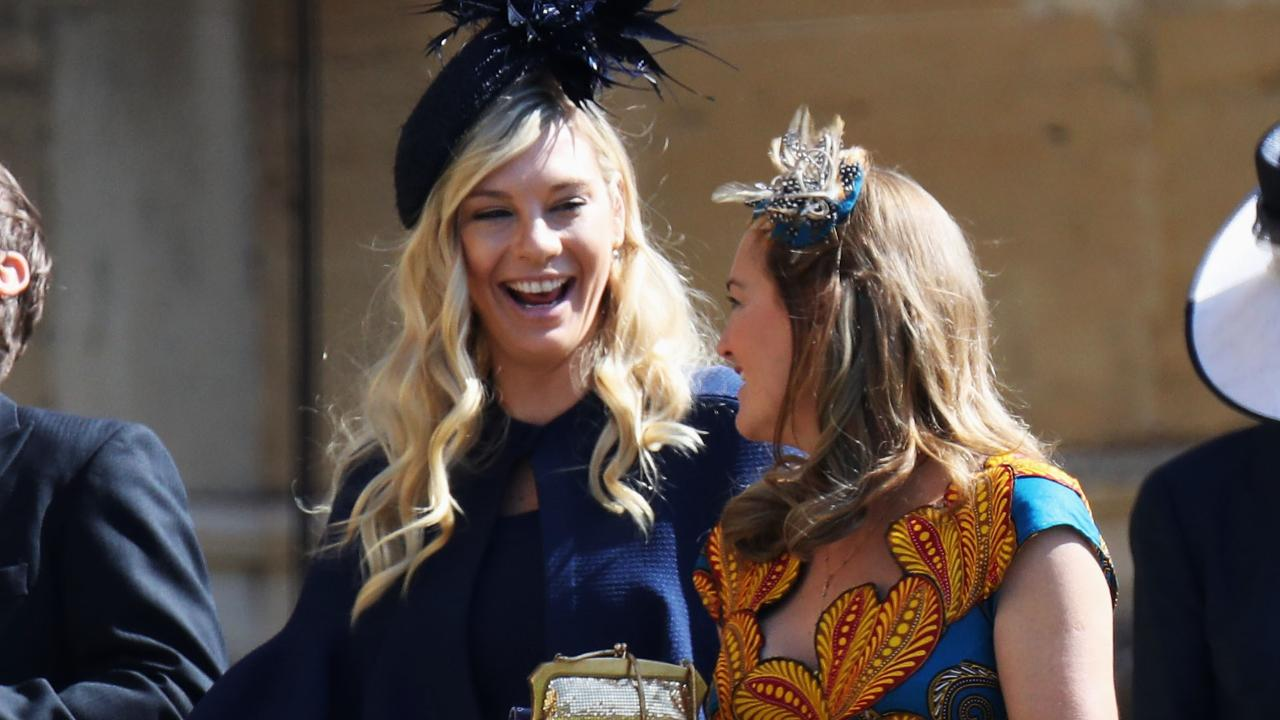 Prince Harry's ex-girlfriends Chelsy Davy and Cressida Bonas arrive at the royal wedding.