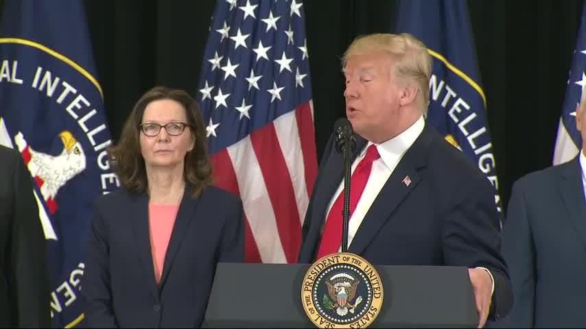 President Donald Trump traveled to CIA headquarters for the swearing-in of the agency's next director, Gina Haspel, who won Senate confirmation last week. (May 21)