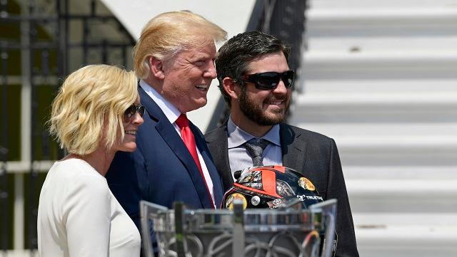 President Donald Trump found an opportunity to throw in a national anthem protest barb during NASCAR Cup Series champion Martin Truex Jr.'s White House visit.  Footage courtesy of the White House