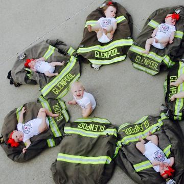 Oklahoma firefighters pose with newborn babies and it's adorable