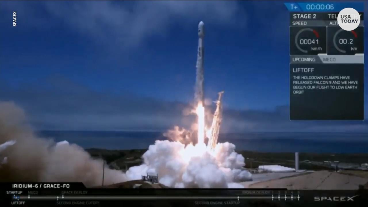 The twin satellites are part of the GRACE-FO mission by NASA and the German Research Centre for Geosciences. SpaceX also launched five Iridium NEXT communications satellites.
