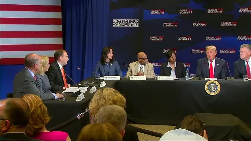 President Donald Trump says he's working on a plan to deduct aid from countries that don't cooperate with U.S. immigration authorities and refuse to accept deportees. Trump made the comments during a roundtable on MS-13 in Long Island. (May 23)