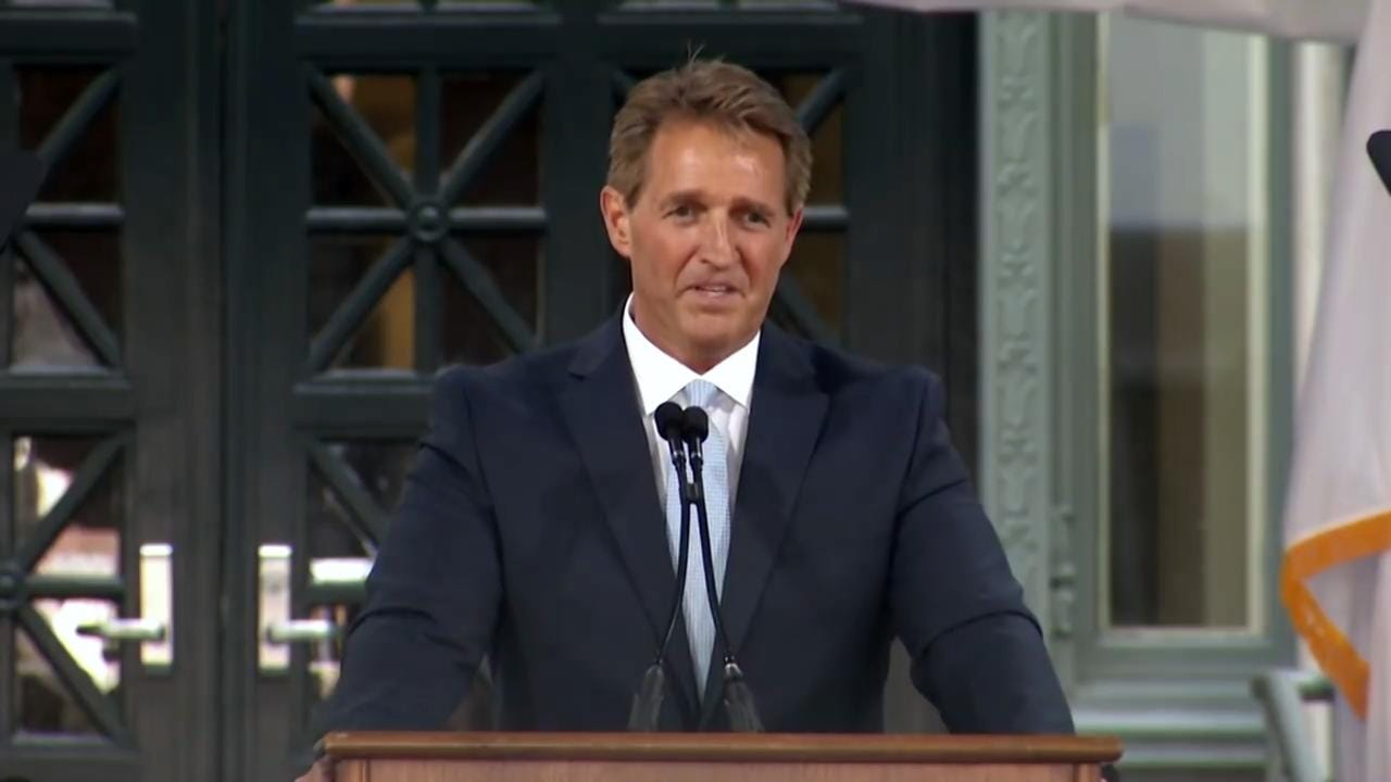 Speaking at Harvard Law School Class Day ceremonies, Senator Jeff Flake didn't mince words about President Donald Trump and his fellow members of Congress.