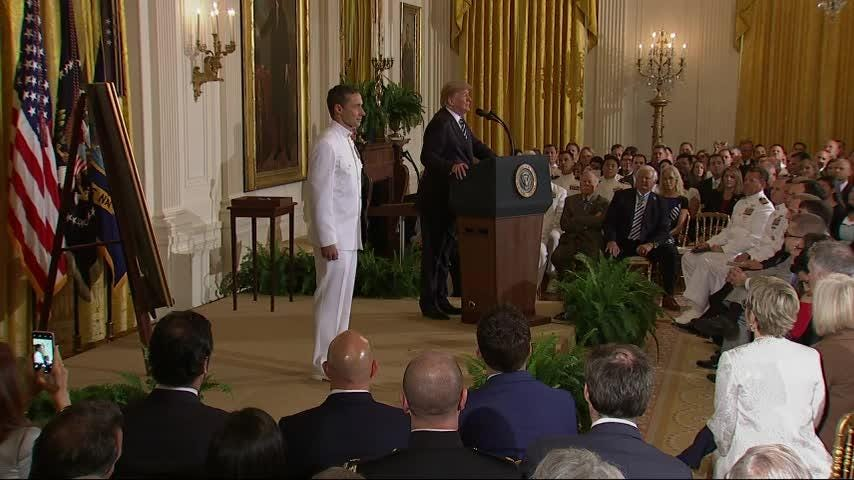 President Donald Trump has awarded the Medal of Honor to a Navy SEAL who oversaw a daring assault and rescue mission on a snowy Afghanistan mountaintop in 2002. (May 24)