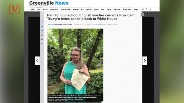 Retired teacher sends back Trump letter with corrections