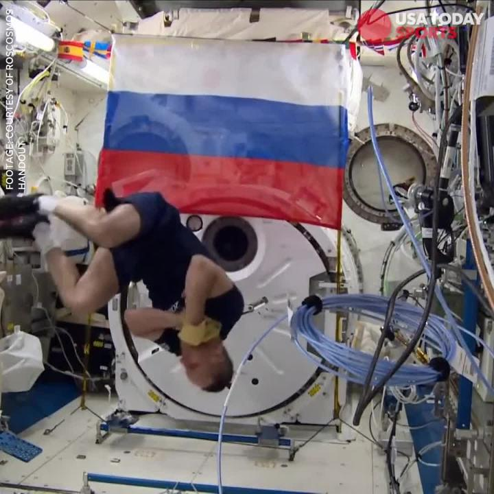 Russian cosmonauts Anton Shkaplerov and Oleg Artemyev bring an official 2018 World Cup soccer ball on board the International Space Station to practice the world's game.  Footage: courtesy of Roscosmos Handout
