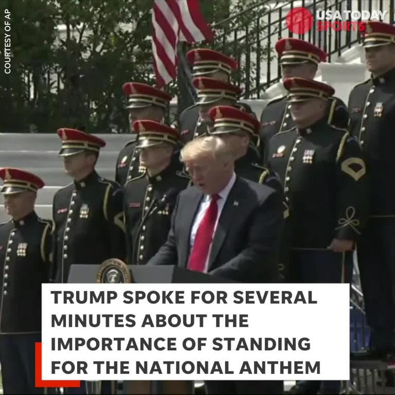 Man takes knee during national anthem at White House event