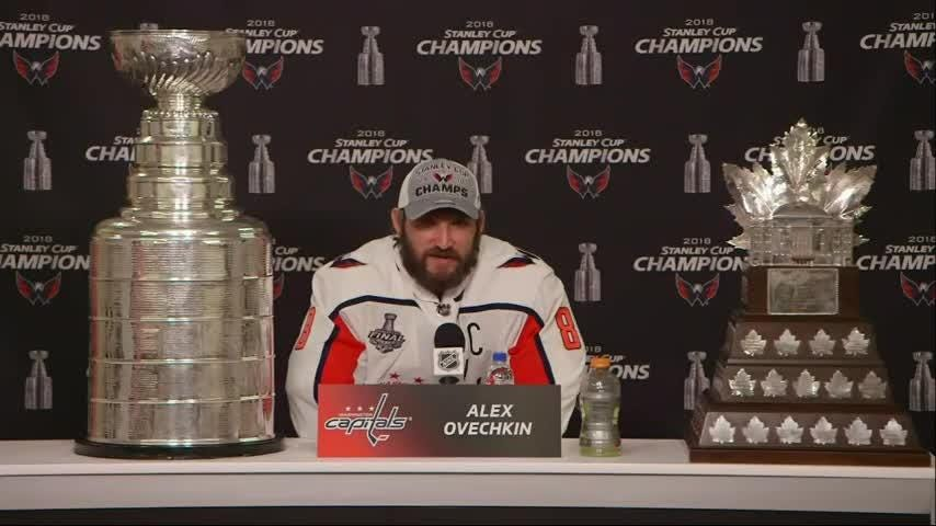Washington Capitals team captain Alex Ovechkin is celebrating his team's Stanley Cup win. The Caps beat the Las Vegas Golden Knights 4-3 on Thursday night to win the NHL championship 4 games to 1. It's the Capitals first-ever Stanley Cup. (June 8)