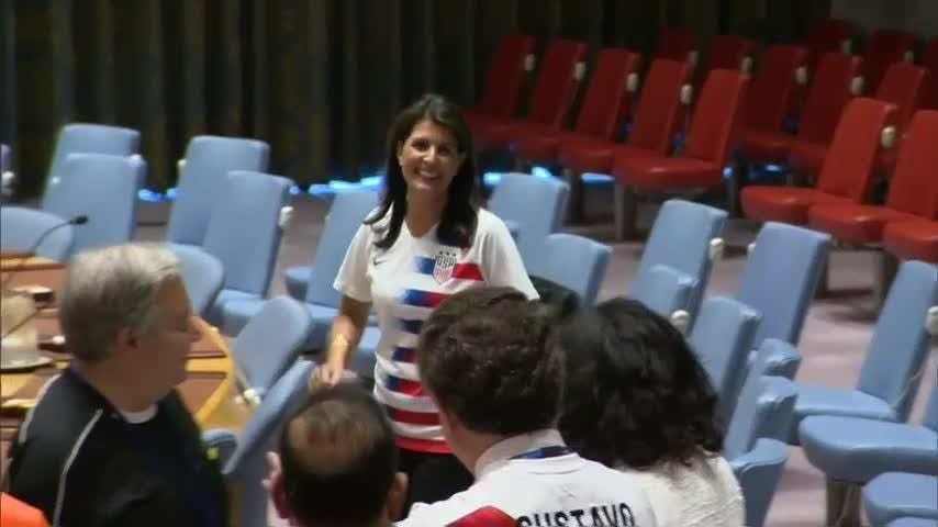 To mark the opening day of the 2018 FIFA World Cup, UN Security Council members posed for a group photo wearing their respective national team jerseys.  (June 14)