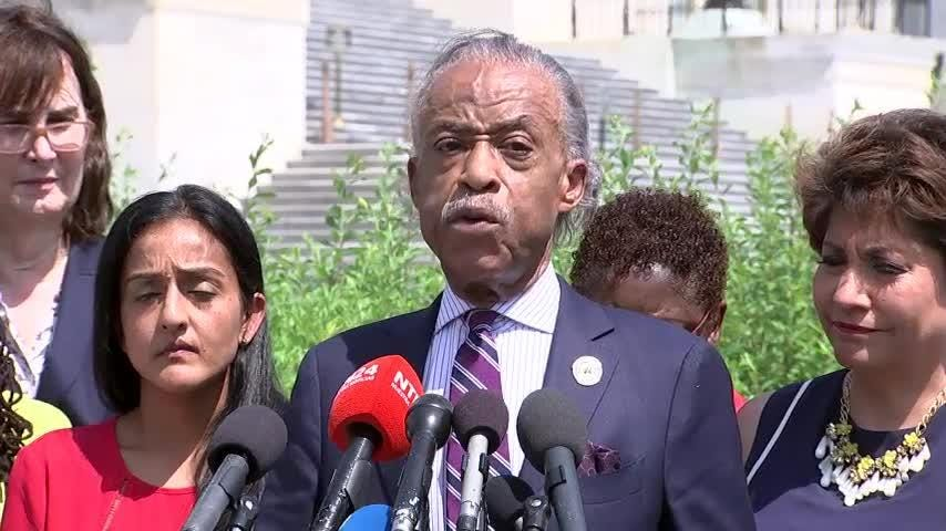Civil Rights activist Rev. Al Sharpton joined with others on Capitol Hill on Monday to decry the Trump administration's policy of separating immigrant families at the U.S. - Mexico border. (June 19)