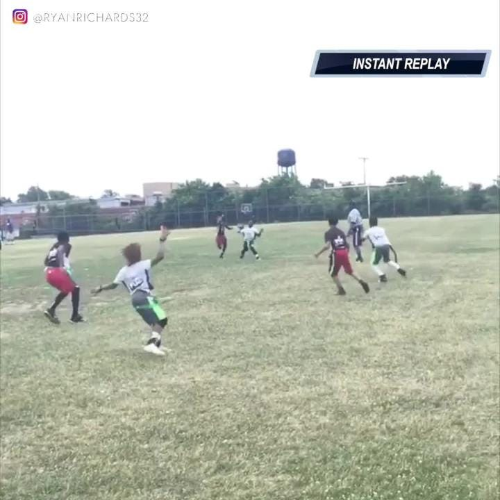 A 9-year-old channels his inner Odell Beckham Jr. for this spectacular one-handed touchdown catch. Credit:  @RyanRichards32/Instagram