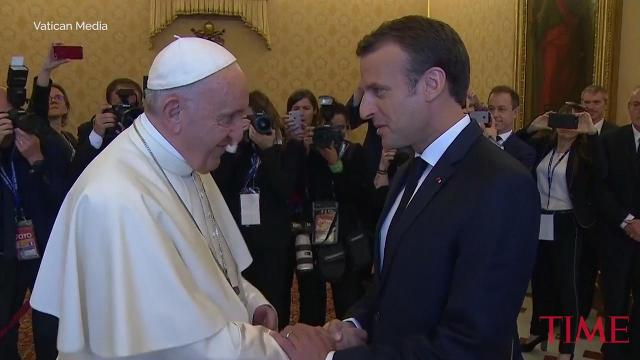 French president in Vatican meeting with Pope Francis
