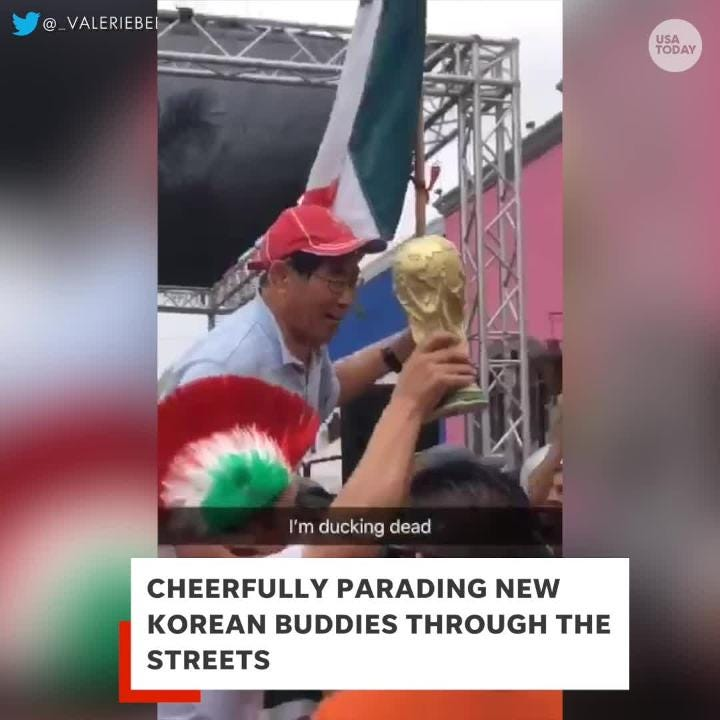 Mexico showed South Korea so much love after it upset Germany to help Mexico advance to the Round of 16 atin the World Cup.  Credit:  @AdamSerrano/Twitter | @_ValerieBee/Twitter | Sony Pictures | TV Azteca | Newsflare | SNTV | Spectee Inc.