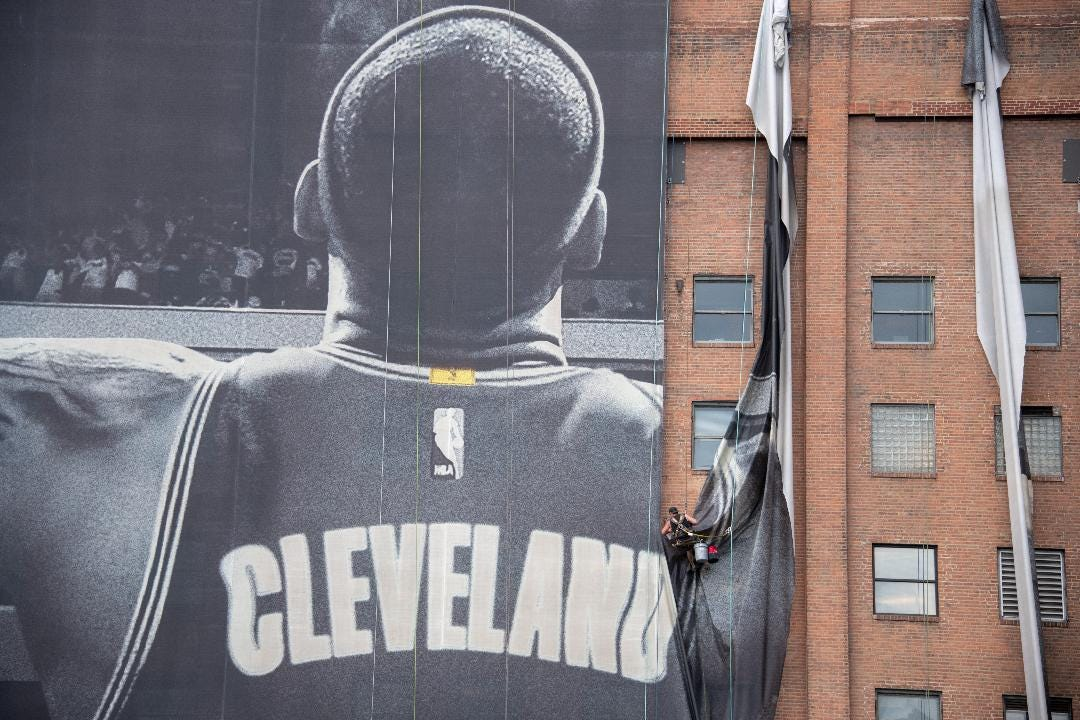 Cleveland is taking down the iconic Nike-LeBron James billboard following news of his departure to the Los Angeles Lakers. Courtesy of WEWS