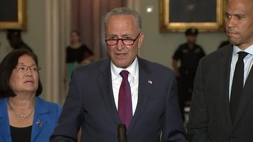 """Senators debated the merits of President Donald Trump's Supreme Court nominee, Brett Kavanaugh. A day after he announced his choice, Democrats expressed their concerns while Republicans urged their Democratic colleagues to """"give him a chance."""" (July 10)"""