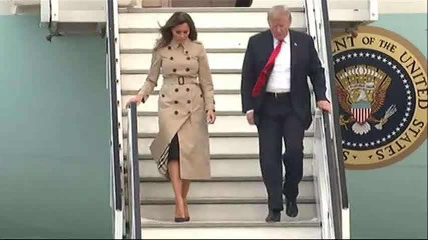 President Donald Trump arrived in Brussels Tuesday on the eve of high-stakes NATO meetings after blasting allies on defense spending. (July 10)