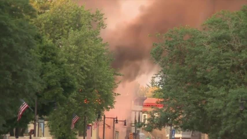 Flames in street after Wisconsin explosion