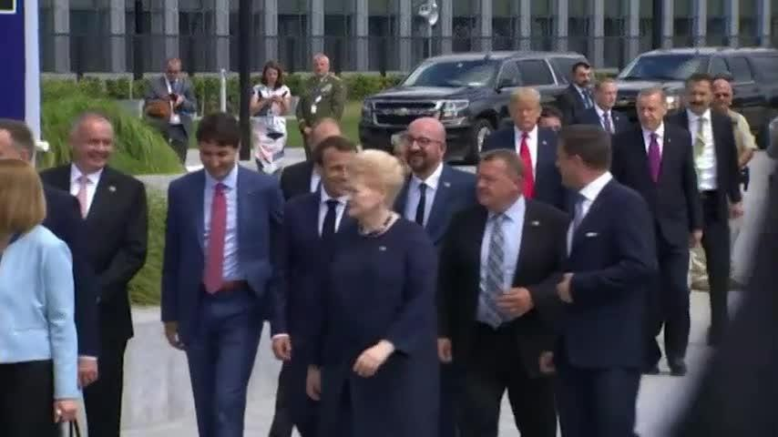 He didn't shove anyone this time, but President Donald Trump's body language at the NATO summit in Brussels suggests his relationships with key U.S. allies aren't exactly buddy-buddy.  (July 11)