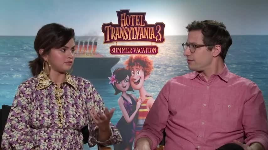 "Selena Gomez and her ""Hotel Transylvania 3"" co-star Andy Samberg discuss the existence of love at first sight, a key plot point in their new family 'toon. (July 11)"