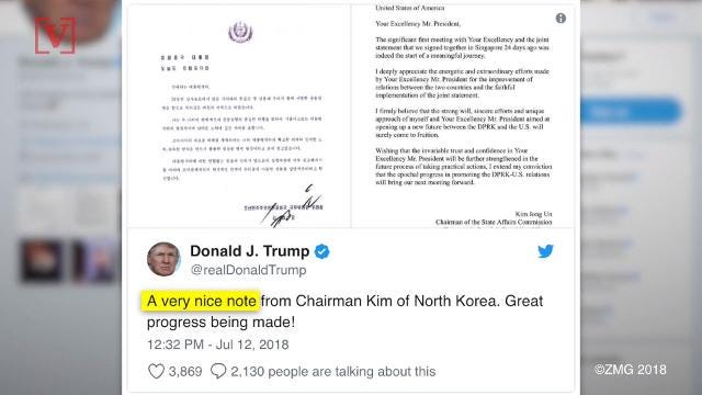 Despite the stumbling blocks between North Korea and the U.S's negotiations to get Kim Jong Un to denuclearize, President Trump shared a rosy letter from the dictator. Nathan Rousseau Smith shows us.