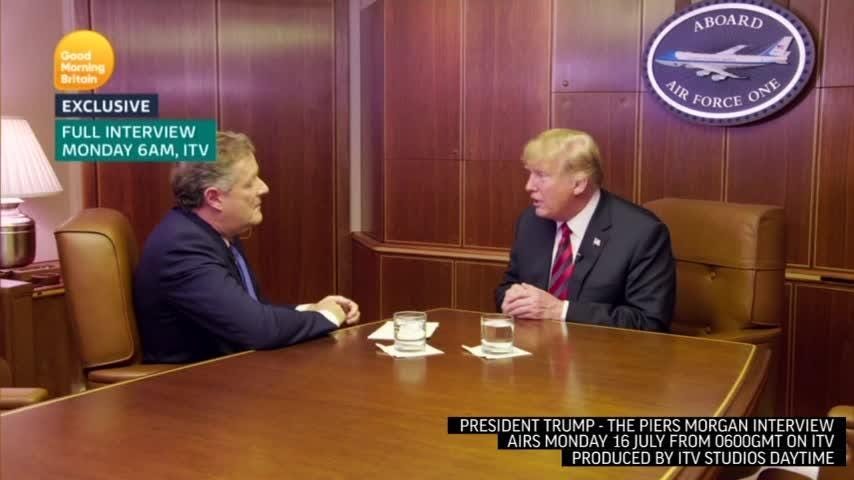 ITV's Piers Morgan interviewed President Trump before he went to Helsinki for his meeting with Russian President Vladimir Putin. Topics Trump discussed include his meeting with the Queen, NATO and the 2020 presidential race. (July 16)