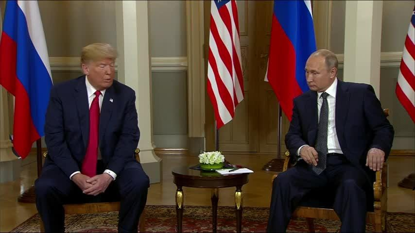 "Kicking off the Finland summit with Russia's Vladimir Putin, Donald Trump says ""I really think the world wants to see us get along."" (July 16)"