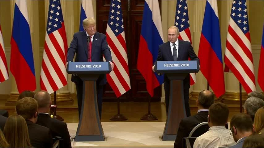 President Donald Trump says he sees no reason why Russia would interfere in the 2016 election. His comments came during joint press conference with Russian President Vladimir Putin in Helsinki. (July 16)