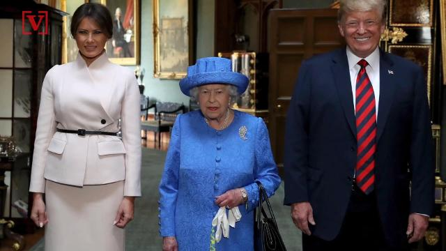Was Queen Elizabeth secretly a part of those anti-Trump protests? Some say her clothing choice shows it, specifically her brooches. Veuer's Nathan Rousseau Smith has the story.