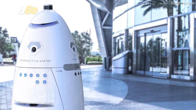 Knightscope's K5 security robot is ready to protect and server. Tony Spitz has the details.
