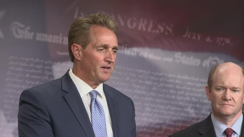 "Senator Jeff Flake says the GOP ""needs to stand up more"" to what he calls ""untruths."" His comments come after a member of his own party blocked a resolution he introduced that would have voiced support for the intelligence community. (July 19)"