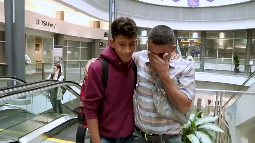 Guatemalan father, son reunited at airport