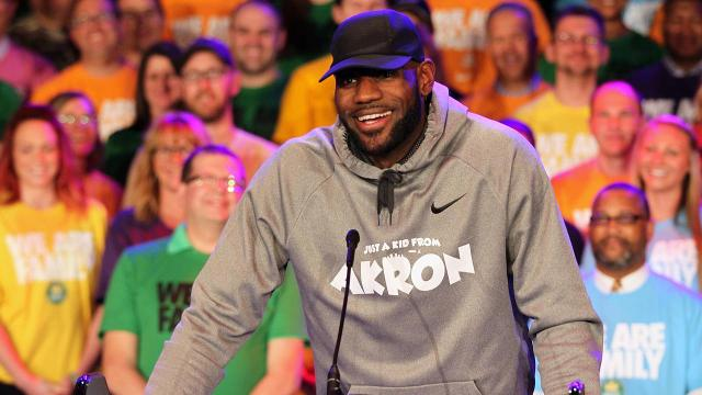 Lakers forward LeBron James opens I Promise School in hometown of Akron.