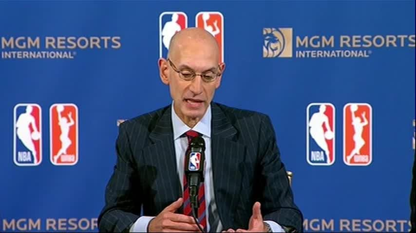 During an announcement that the NBA will become a 'gaming partner' with MGM Resorts International as sports betting takes off, a reporter asked if the partnership was appropriate, given last year's massacre at the Mandalay Bay Resort and Casino. (July 31)