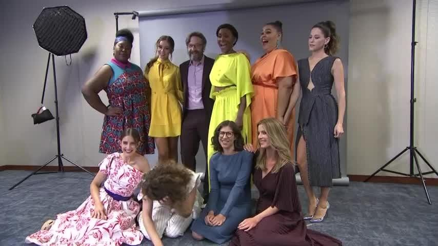 """""""GLOW"""" showrunners Liz Flahive and Carly Mensch and star Betty Gilpin are """"still processing"""" the Netflix wrestling dramedy's 10 Emmy nominations. (Aug. 1)"""