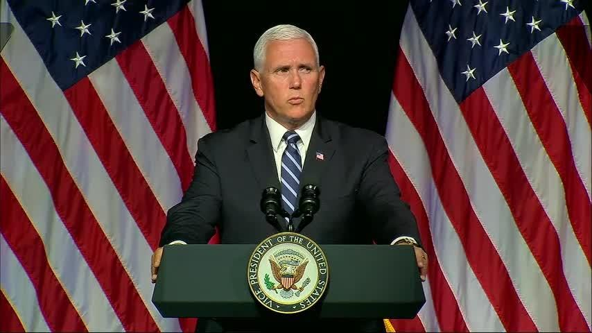 Vice President Mike Pence announced plans Thursday for a new, separate US Space Force as a 6th military service by 2020 to ensure America's dominance in space amid heightened completion and threats from China and Russia. (Aug. 9)