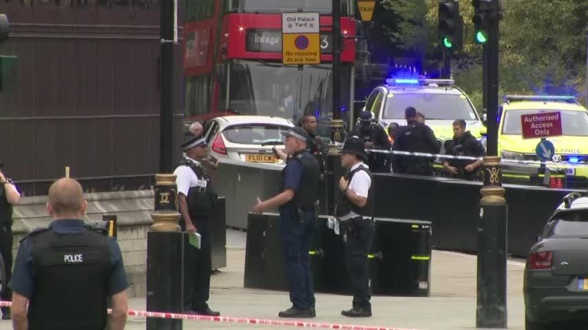 London police say that a car has crashed into barriers outside the Houses of Parliament and that there are a number of injured. Police said that the driver of car, a man, was arrested at scene after the incident Tuesday morning. (Aug. 14)