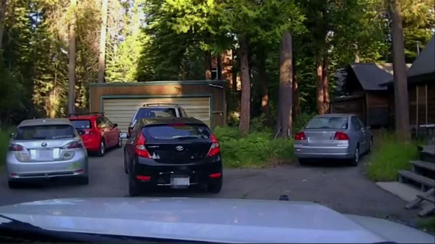 Dramatic dashcam video captured by California sheriff's deputies shows an officer firing a round of nonlethal beanbags into a car's rear window to free a bear that had become trapped in the car. (Aug. 16)