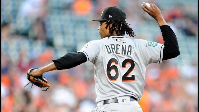 Miami Marlins pitcher Jose Ureña was handed a six-game suspension and an undisclosed fine for intentionally hitting Atlanta Braves rookie outfielder Ronald Acuña Jr. with a pitch Wednesday, Major League Baseball announced.