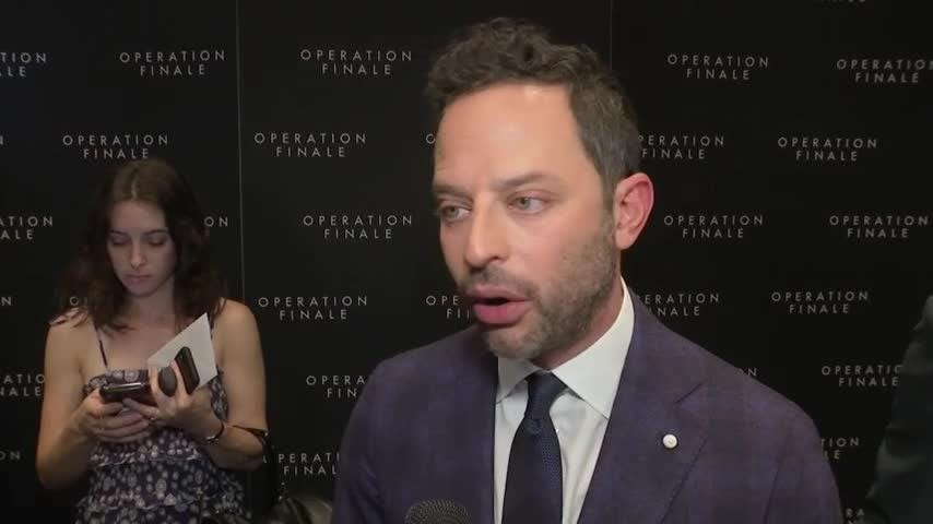 """At the New York premiere of """"Operation Finale""""  - their film about the capture of Nazi officer Adolf Eichmann - stars Oscar Isaac, Nick Kroll and Ben Kingsley draw parallels between the language of Eichmann and the current political rhetoric used across the globe. (Aug. 17)"""