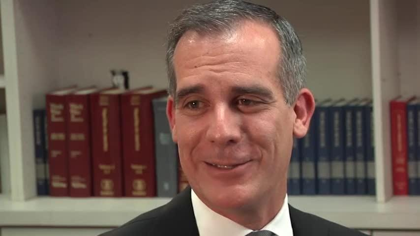 Los Angeles Mayor Eric Garcetti, who is considering a 2020 presidential run, says President Donald Trump has done 'plenty of racist things' to divide the nation while failing to deliver on health care reform and other promises. (August 16)